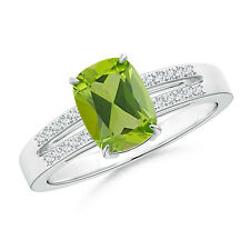 Cushion Cut Peridot Solitaire Ring with Diamond Accents 14k White Gold Size 3-13