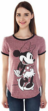 Juniors Minnie Mouse Short Sleeve Ringer T-Shirt Heather Red