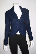NEW MOSSIMO WOMEN CABLE KNIT ONE-BUTTON CARDIGAN NAVY BLUE SWEATER SIZE S, M