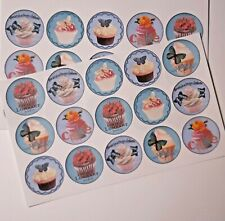 30-90 STICKERS SCRAPBOOKING CRAFT CARDMAKING EMBELLISHMENTS BLUE CUPCAKES CUTE