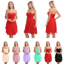 Women's Ruched Strapless Chiffon Short Evening Party Bridesmaid Gown Dress Dance