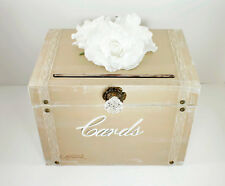 Vintage Wedding Card Box Trunk, Taupe, White, Rustic Card Box, Shabby Chic .....