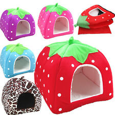 Puppy Strawberry Kennel Doggy Soft Cushion Basket Pet Dog Cat Warm Bed Pad House