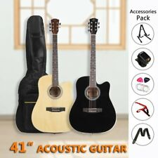"41"" Inch Wooden Guitar Set Folk Acoustic Classical Cutaway Steel String 2colors"