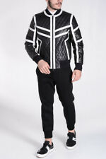 NEIL BARRETT New Man Black White Quilted Leather Zipped Bomber Jacket Italy Made