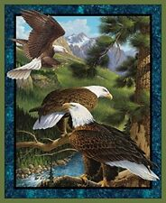 Wild Wings Flying High Panel Fabric, Cotton, Brown. Free Shipping
