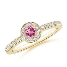 Round Pink Tourmaline Halo Ring with Diamond Accent 14K Yellow Gold