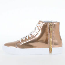 DIESEL New Woman Metallic Leather S-NENTISH W Zipped High-Top Sneakers Shoes NWT
