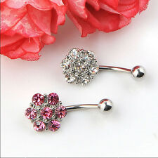 Rhinestones Flower Surgical Steel Barbell Piercing Belly Button Navel Ring B&H