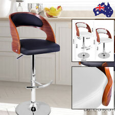 Wooden Bar Stools Swivel Kitchen PU Leather Padded Chair Breakfast Seat Gas Lift