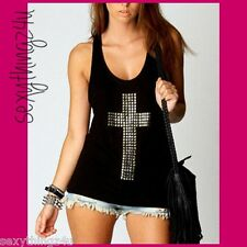 SEXY BLACK -SILVER STUDDED CROSS- TANK TOP RACER SINGLET Choose Size 8-10