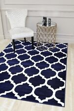 RUG AREA RUGS CARPET FLOORING 3029 NAVY MOROCCAN TRELLIS AREA RUG LARGE SALE NEW