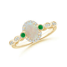 Oval Opal and Diamond Halo Ring with Bezel Set Emerald 14K Yellow Gold Size 3-13