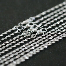 925 Silver plated 1//5 pcs 2mm Twisted Water Wave Chains Necklace 16-24 inch