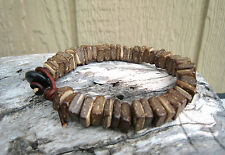 Mens Brown Leather Wrap Bracelet Natural Coconut Wood Beaded Yoga Surfer Style