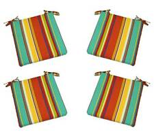 Set of 4 - In / Outdoor Coral Turquoise Stripe Foam Chair Cushions - Choose Size