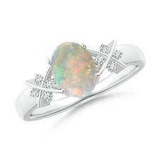Solitaire Oval Opal Criss Cross Ring with Diamonds 14K White Gold Size 3-13