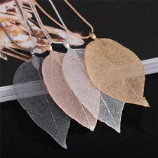 Unique Women Fashion Jewelry Simple Leaf Sweater Pendant Long Chain Necklace .