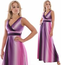 Summer Maxi Dress Long Wedding Evening Party Occasion Purple Pink White UK 8