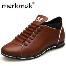 Merkmak Invisible Height Increase Men Casual Shoes High Quality Leather Mens Sho