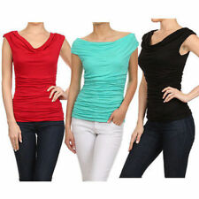 USA Ladies Solid Ruched Cowl Neck Cap Sleeve Jersey Rayon Career Blouse Top