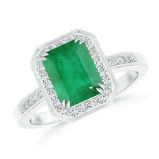 Diamond Halo Emerald Cut Emerald Engagement Ring 14K White Gold Size 3-13