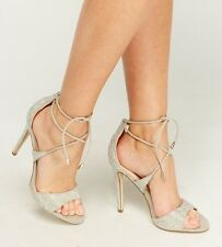 Ladies Lace Up Strappy Diamante High Open Toe Stiletto Heels Prom Shoes Sandals