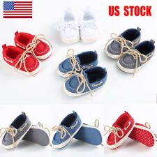 US Kids Baby Lace Up Canvas Toddler Infant Trainers Sneakers Casual Shoes Size