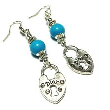 Padlock Charm Turquoise Howlite Earrings Pierced or Non-Pierced Clips 925 Silver