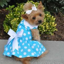 NEW Blue Polka Dot Dog Dress with Matching Leash by Doggie Design 3-32 lbs