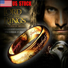 Lord of the Rings Titanium Steel 18K Gold Plated Ring Men's Band Size 6-12 USA
