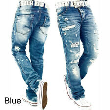 Mens Jeans Ripped Skinny Distressed Destroyed Slim Fit Stretch Biker Pants Holes