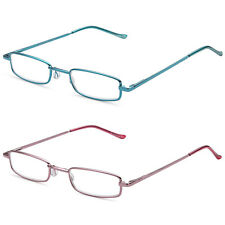 DOUBLETAKE Classic Readers Slim Pen Clip Portable Case Reading Glasses, 2 Pairs