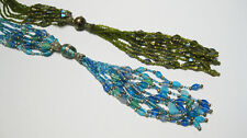 Multi-Strand Beaded Necklace with Multi-Strand Beaded Tassel Drop, Blue & Green