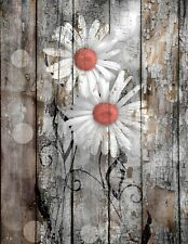 Coral Brown Rustic Daisy Flowers Home Decor Farmhouse Wall Art Matted Picture