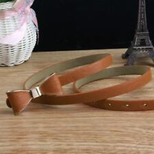 Women Candy Color Bow Decorated Pu Leather Material Thin Waistband Belt