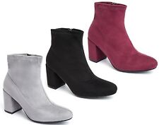 Womens Ladies Ankle High Boots Faux Suede Zip Work Block Heel Chelsea Shoes Size