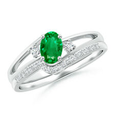 Oval Emerald and Diamond Womens Wedding Band Ring Set 14K White Gold Size 3-13