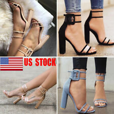 US Womens High Block Heel Pump Peep Toe Ankle Strappy Party Sandals Shoes Size