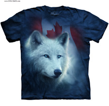 White Wolf Canada Flag T-Shirt/Blue Tie Dye,Gorgeous Wolf,Canadian Flag,Wolf Tee
