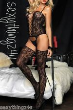 BLACK CROTCHLESS SUSPENDER LACE BODY STOCKING - Choose Size 8-10-12