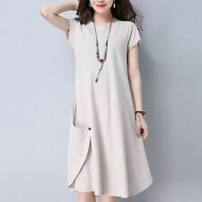 Casual Wear Linen Material Button Decorated Vintage Dress for Women