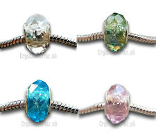 2 x Faceted Crystal Glass Blue Green Pink Clear AB Charm Bead *Buy2 get 25% off*