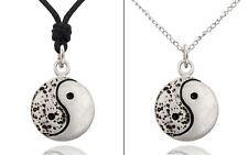 New Simple Ying Yang Silver Pewter Charm Necklace Pendant Jewelry