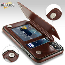 KISSCASE PU Leather Case Wallet Card Slot Iphone X 8 Plus Galaxy 8 Cover Colors
