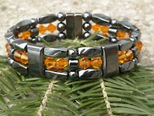 Mens Womens Magnetic Hematite Bracelet Anklet Necklace w Smokey Sun Swarovski