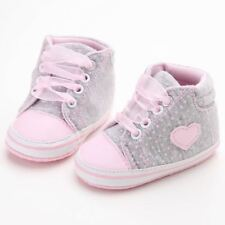 Pink Polka Dot Cotton Soft Sole Baby Shoes Lace-up Spring/Autumn First Walkers N