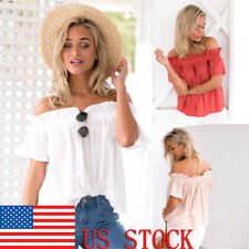 Womens Off Shoulder Ruffles Solid Casual Bell Sleeve Blouse Loose Tops Crop Tops