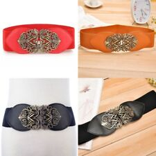 New Women's Waist Belt Stretch Adjustable Wide  Buckle Elastic Waistband W0179