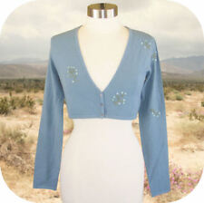 The Limited Embroidered Sequin Stretch Cardigan Shrug Sweater S Blue